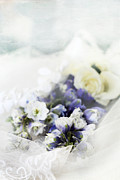 Blue Delphinium Posters - Delphiniums and Lace Poster by Stephanie Frey