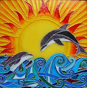 Sun Glass Art Prints - Delphins Print by Danuta Duminica