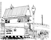Bridge Drawings - Delray Beach Intracoastal Bridge-Tender House by Robert Birkenes