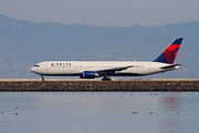 Airliners Photo Prints - Delta Airlines Jet Airplane At San Francisco International Airport SFO . 7D12111 Print by Wingsdomain Art and Photography