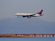 Airplane Landing Framed Prints - Delta Airlines Jet Airplane At San Francisco International Airport SFO . 7D12182 Framed Print by Wingsdomain Art and Photography