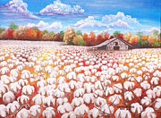 Used Paintings - Delta Cotton field with Webbs barn by Cecilia Putter