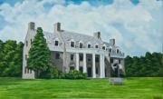 University Of Illinois Painting Originals - Delta Upsilon by Charlotte Blanchard