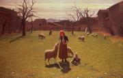 Lambing Metal Prints - Deluded Hopes Metal Print by Giuseppe Pellizza da Volpedo