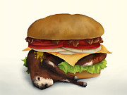 Sandwich Digital Art - Deluxe Double Cheeseburger With Bacon by Aaron Rutten