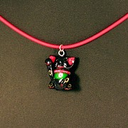 Animals Jewelry Originals - Deluxe Hand Painted Black Maneki Neko Lucky Beckoning Cat Necklace by Pet Serrano