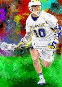 Lacrosse Paintings - Delware Midfielder by Scott Melby