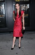 Red Dress Framed Prints - Demi Moore  Wearing A Zac Posen Dress Framed Print by Everett