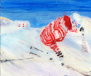 Ski Paintings - Demo Skier at Balme by Sara Pendlebury