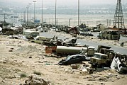Operation Desert Storm Framed Prints - Demolished Vehicles Line Highway 80 Framed Print by Everett