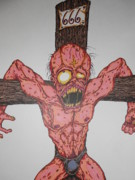 Skinny Drawings Prints - Demon Crucifix Print by Michael Toth