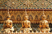 Yellow Sculpture Metal Prints - Demon Guardian Statues at Wat Phra Kaew Metal Print by Panyanon Hankhampa