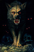 Animal Portraits Prints - Demon Wolf Print by MGL Studio - Chris Hiett