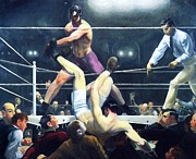 Fighters Paintings - Dempsey and Firpo by Pg Reproductions