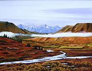 Snow-covered Landscape Painting Prints - Denali Autumn Print by Mary Rogers