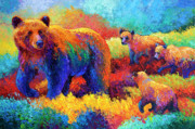 Brown Bear Paintings - Denali Family by Marion Rose