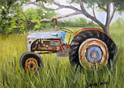 Barbara Haviland Framed Prints - Denas Blue Tractor Framed Print by Barbara Haviland