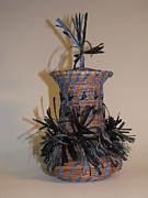Pine Needle Baskets Art - Denim Blue by Beth Lane Williams
