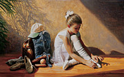 Girl Painting Posters - Denim to Lace Poster by Greg Olsen