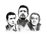 Pen And Ink Portraits Posters - Deniro Pen and Ink Drawing in Black and White Poster by Mario  Perez