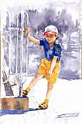 Watercolour Prints - Denis 02 Print by Yuriy  Shevchuk