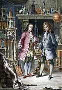 Man Machine Prints - Denis Papin And Robert Boyle, Engraving Print by Sheila Terry