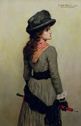 Shawl Paintings - Denise by Herbert Schmalz