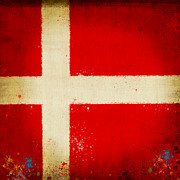 Old Map Digital Art Prints - Denmark flag Print by Setsiri Silapasuwanchai