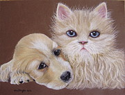 Cute Kitten Pastels Prints - Dennis and Maisie Print by Kim Shayler