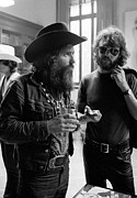 Entertainers Framed Prints - Dennis Hopper and Kris Kristofferson 1971 Framed Print by Jan Faul