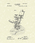 Chair Drawings Prints - Dental Chair 1896 Patent Art Print by Prior Art Design