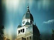 Large Clock Posters - Denton County Courthouse Poster by Angela Wright