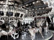 Horses Pyrography Prints - Dentzel Menagerie Carousel - Glen Echo Park Maryland Print by Fareeha Khawaja