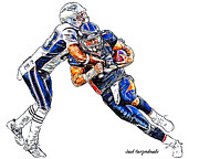 Tim Tebow Framed Prints - Denver Broncos Tim Tebow - New England Patriots Andre Carter Framed Print by Jack Kurzenknabe