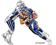 Denver Broncos Tim Tebow - New England Patriots Rob Ninkovich Print by Jack K