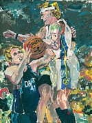 Basketball Paintings - Denver Fouls Mavericks by Mary Hatch