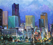Lit Painting Originals - Denver Lights by Ed  Slack