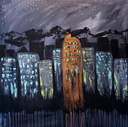 Denver Broncos Paintings - Denver Night Shines by Julie Janney