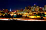 Denver Photo Framed Prints - Denver Night Skyline Framed Print by James O Thompson