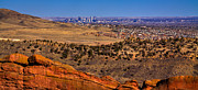 Denver Photo Acrylic Prints - Denver Skyline from the Red Rock Amphitheater Acrylic Print by David Patterson