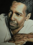 African-american Drawings Posters - Denzel Poster by Amy Albright