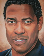 Portraits By Timothe Framed Prints - Denzel Washington Framed Print by Timothe Winstead