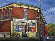 Montreal Streets Posters - Depanneur Chez Bert Montreal Poster by Reb Frost