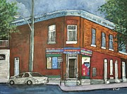Old Buildings Paintings - Depanneur Surplus De Pain Rue Charlevoix by Reb Frost