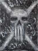 Grunge Skull Paintings - Departed Darkness by Roseanne Jones