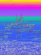 Photo Manipulation Metal Prints - Departing Ferry Metal Print by Tim Allen