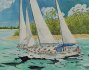 Sailboats Drawings - Departing by John Edebohls