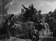 Massachusetts Plymouth Massachusetts Posters - Departure Of The Pilgrims, 1620 Poster by Photo Researchers