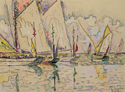 Sailboat Ocean Paintings - Departure of tuna boats at Groix by Paul Signac