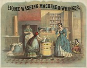 Domestic Scenes Framed Prints - Depiction Of A Laundress Using Framed Print by Everett